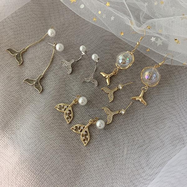 8 sortes diamant sirène queue de poisson boucles d'oreilles 925 argent Sterling crochet perle goutte de tempérament boucle d'oreille pour les femmes bijoux cadeau d'amitié