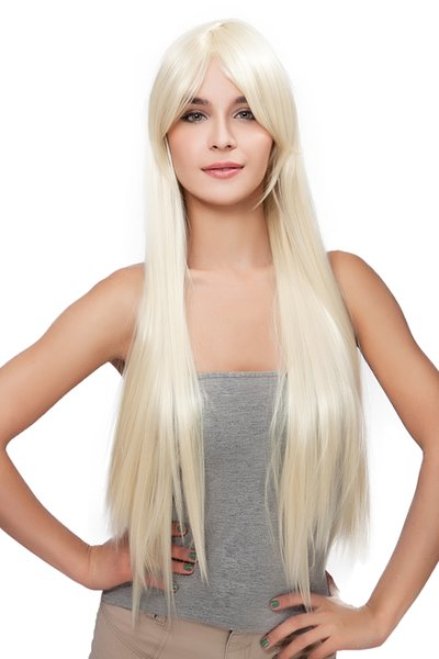 Women Natural Long Light Blonde Oblique Bangs Straight Rose Net Kanekalon Heat Resistant Cosplay Party Hair Full Wig Wigs