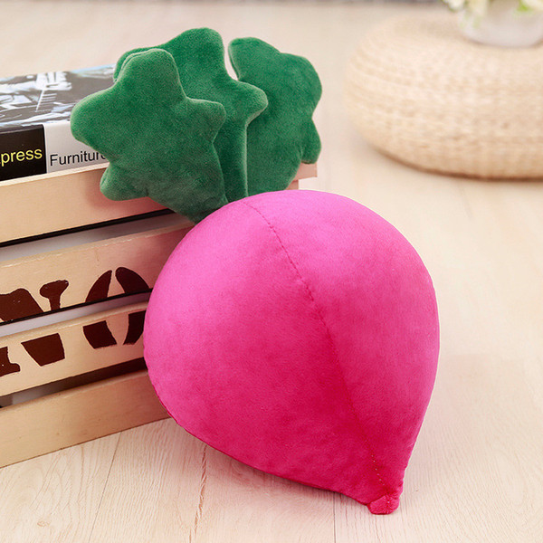 Cute 1pc 40cm simulation radish plush toy stuffed soft vegetable pillows for baby kids birthday gift sofa cushion and room decoration