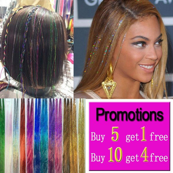 Sparkle Hair Tinsel Bling Hair Secoration For Synthetic Hair Extension  Glitter Rainbow For Girls And Party 100cm 150Strands/Pcs Jeweled Hair  Pieces ...