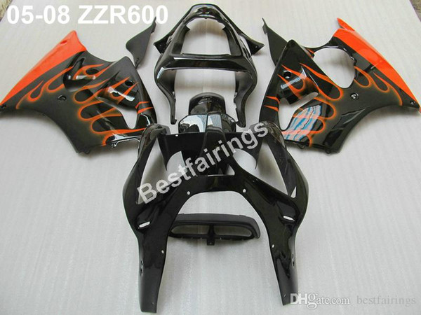 Injection mold 100% fit for Kawasaki ZZR600 05 06 07 08 red flames black fairings set ZZR 600 2005-2008 ZV39