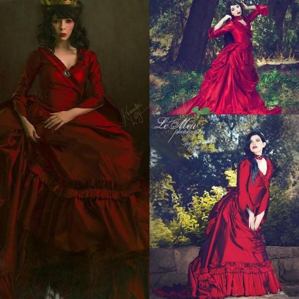 Mina Vintage Drácula Vestidos de Casamento Vitoriano Com Mangas Compridas 2019 Gótico Halloween Vermelho Escuro Jardim De Noiva Vestidos Ruched Babados plus size