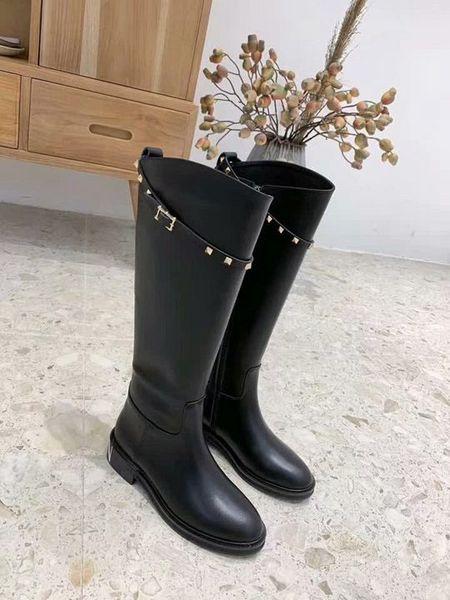 haute dames de qualité haut bottes hautes bottes de luxe sauvages talon en première couche de peau de vache femmes chaussures de sport de marque boîte originale