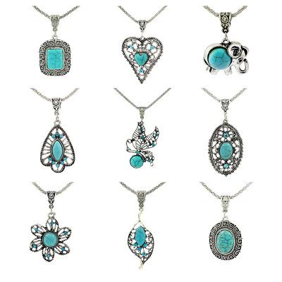 Vintage turquoise Long Necklaces Square Elephant Heart Leaves flower Pendant Sweater chains For women Fashion Jewelry Gift