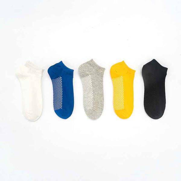 2019 Лето Сплошной Цвет Мелкий Рот Хлопок Короткий Носок Мужчины Женщины Массаж Снизу Короткие Носки Поглощают Пот Дышащий Чулочно-Носочные Изделия