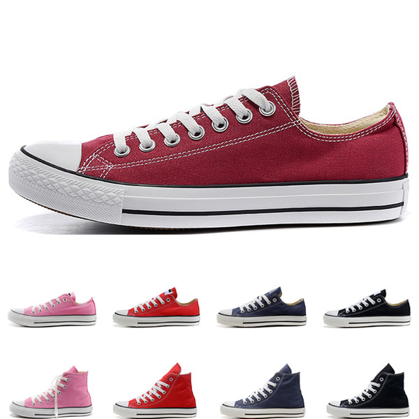 2019 free shipping men women canvas shoes black red pink white beige navy blue fashion designer high quality casual shoes size 36-44