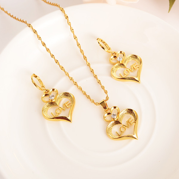 stamep love heart Character Rhinestone crystal Jewelry sets Pendant Necklaces Earrings Fine Gold GF CZ girls Europe women