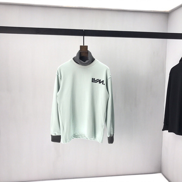 19SS calidad superior nueva super cool falso de dos piezas de alta costura de cuello de manga larga con capucha para hombre del diseñador del suéter del hip-hop suéter de gran tamaño