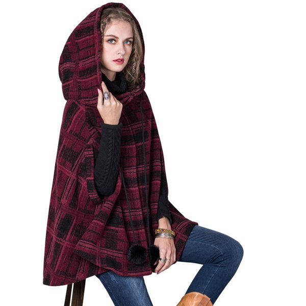 wool & blends wool coat women coat regular plaid hollow out hooded covered button cloak wine red mx273