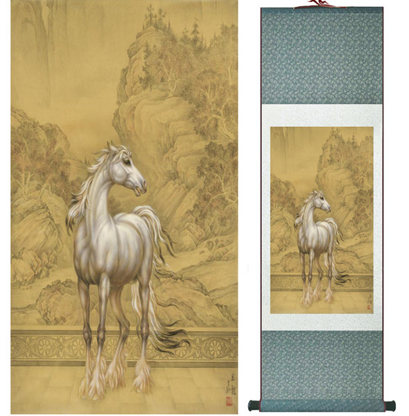 Traditional Chinese Art Painting Horse Silk Scroll Art Painting Horse Painting 042012