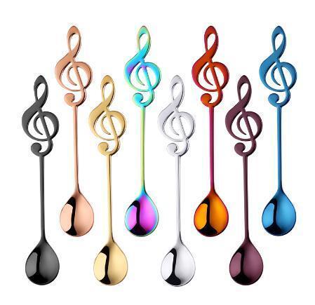 ТОП 7 Цветных Нержавеющей Стали Чайные Ложки Маленькие Ложки Кофе Творческий Музыкальный Символ Ложки Для Мороженого Десерт Чаепития Посуда