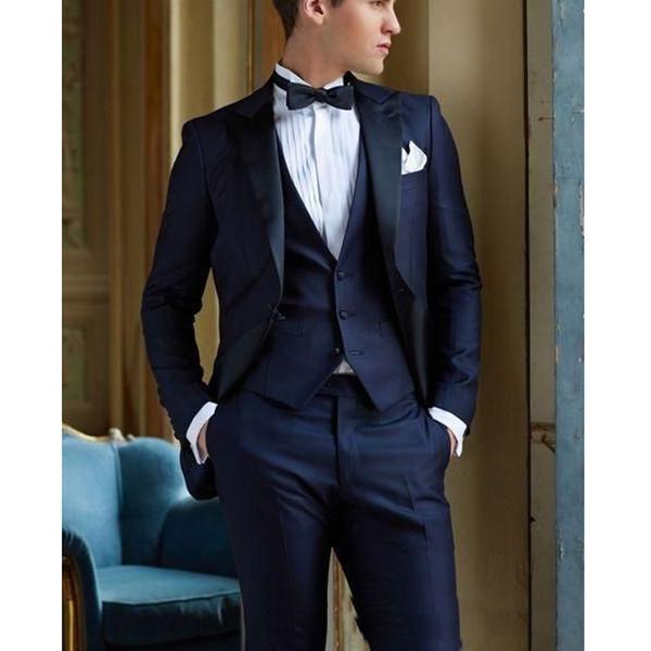 Acheter Bleu Marine Italien Tuxedos De Mariage 3 Pièces Pour Homme Costumes De Mariage Pour Hommes Slim Fit Costumes De Marié Costume De Smoking Tapis