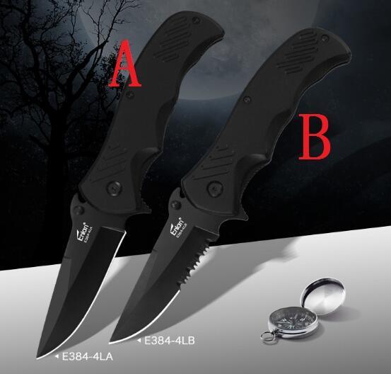 Promoción Enlan E384-4 cuchilla plegable 3CR13 hoja de aluminio mango mitad hoja dentada hoja completa que acampa cuchillo de bolsillo al aire libre herramientas EDC