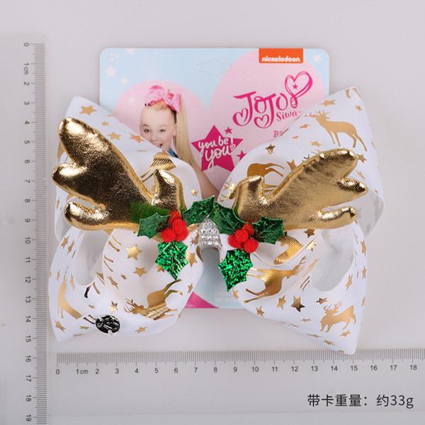 """Hot sale JoJo Bows Hair Clip For Girls Kids 8"""" foil Printed Christmas deer horn antler Ribbon Knot Jumbo JOJO Siwa Large Hair Bow 5pcs"""