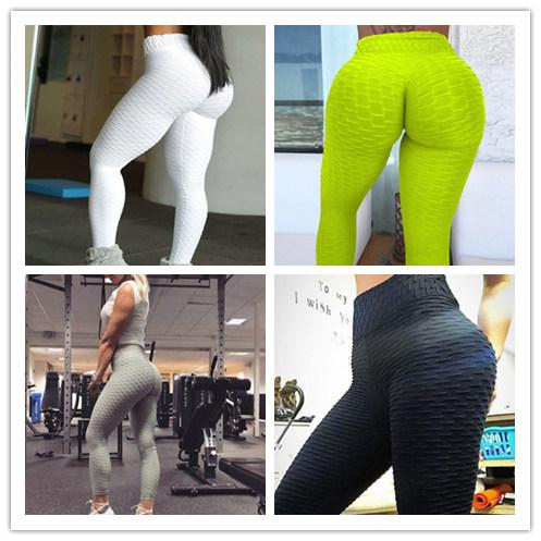 2019 fashion women's bodybuilding yoga pants stretchy skinny high waisted ruched butt lifting long workout push up leggings casual trou thumbnail