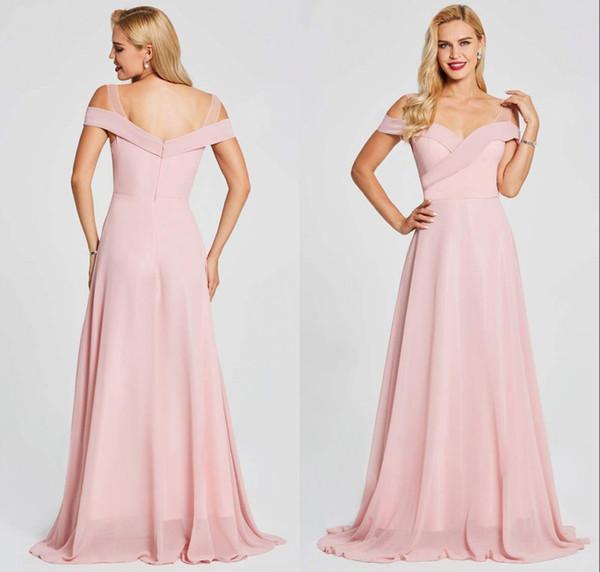 2019 Candy Pink Elegant Long Beach Boho Bridesmaid Dresses Off Shoulders Formal Maid of Honor Dresses Wedding Party Gowns Vestidos BM0147