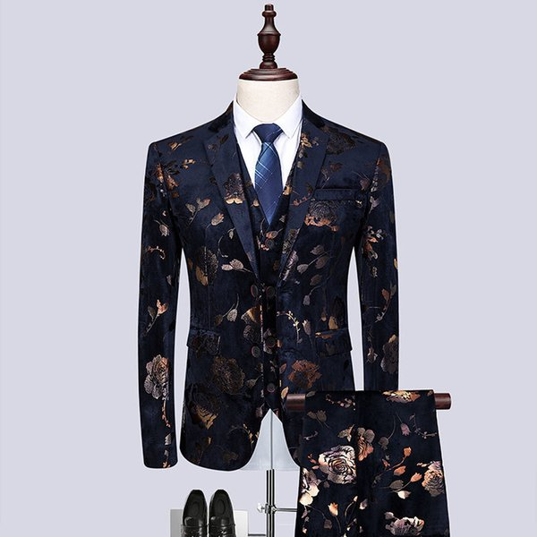 Mode 2019 Golden Print Slim Fit Dress Costumes Pour Hommes 3piece Costume Hommes Night Club Chanteur Costume De Scène Homme Plus La Taille Tuxedo
