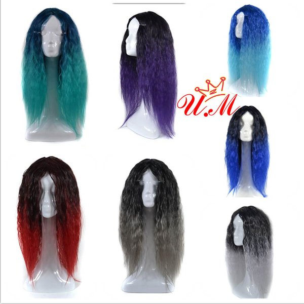 ombre Synthetic wigs 60cm Heat Resistant Fiber afro Corn silk synthetic Yaki kinky straight hair wig 1B/grey blue green for fashion Cosplay