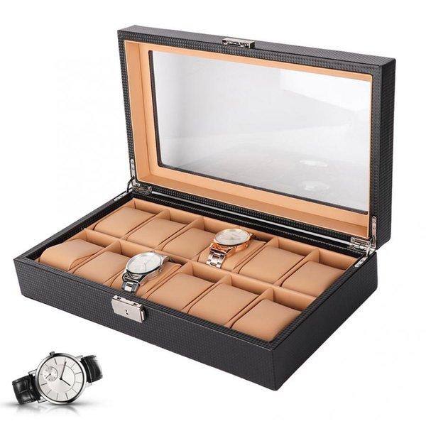 12 emplacements Voir cas Organisateur de stockage Boîte à bijoux Collection Container Display Matériel de haute qualité Montre de Luxe Case Lc