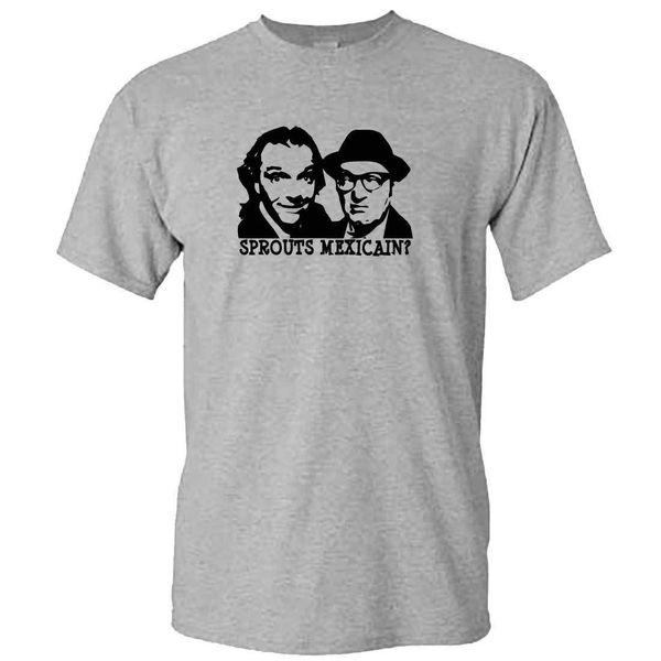Нижняя футболка - ростки мексиканца? - Мужская британская телесериал культ Рик Mayall смешные летние мужская мода Tee дешевые Оптовая тройники