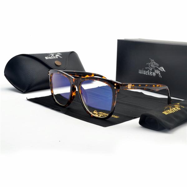 454e99e54 MINCL Sexy leopardo Quadro Quadrado Óculos de Armação Lente Clara Miopia Preto  Óculos De Sol Dois