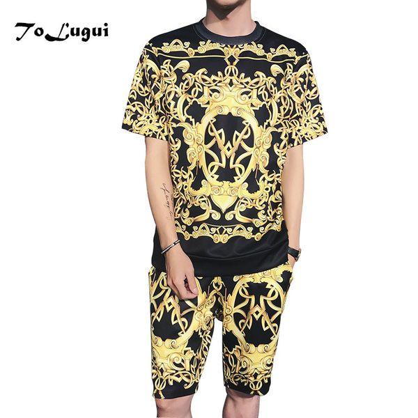 2018 Summer Set Men Causal 3d Printing Hip Hop Short Sleeve Shorts Sweatsuit+pants Fashion Tracksuit Mens Track Suit Two Pieces C19041702