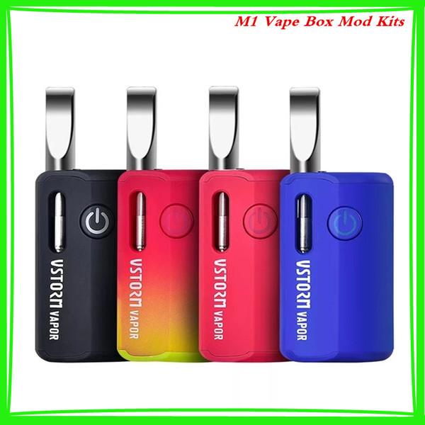 Authentic Vapor Storm M1 E Cigarette Kits 800mah Variable Voltage mod Battery Suitable 12mm Oil Atomizer Vape Box Mod Kit