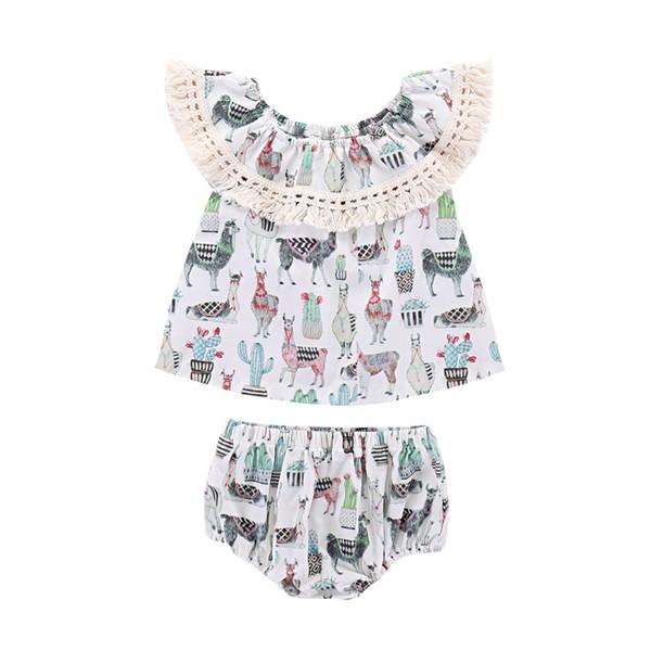Baby girls outfits Off Shoulder Tassel Lace Alpaca cactus print Tops+shorts 2pcs/set 2019 summer Boutique kids Clothing Sets C6098