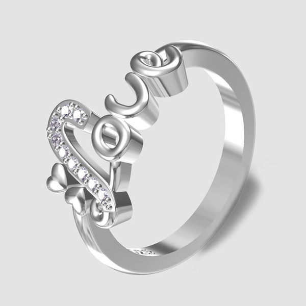 Love Heart-shaped Women Rings with Zircon European Creative English Letter Engagement Rings Birthday Gifts Promise Jewelry Anel