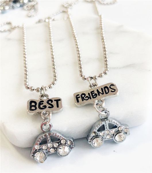 "2PCS/Pair ""Best Friend"" Necklaced Two Rhinestone Car Pendant Necklaces Kids Necklace For Children Jewelry Birthday Gifts"
