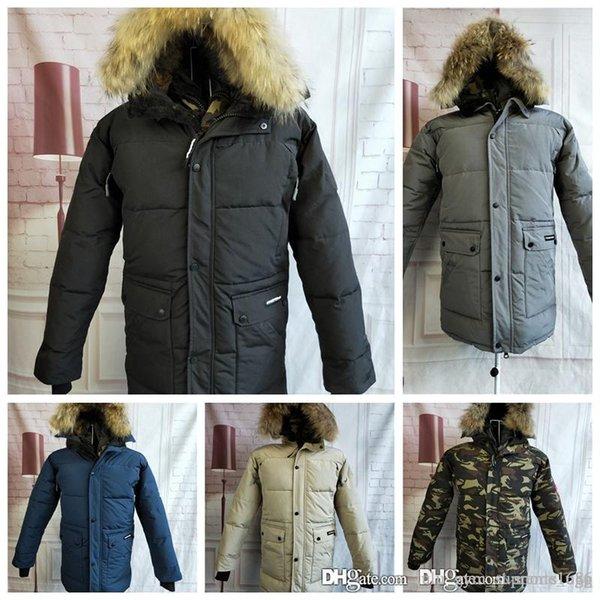 canada jacket medium long men's thickened warm waterproof camouflage tooling winter goose down men's down coats fleece down jacket