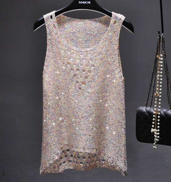 Summer Sexy Hollow Out Knitted Tank Tops Women Shiny Gold Silver Sequined Tank Tops Women Bling Bling Shiny Knited Vest Top Y19042801