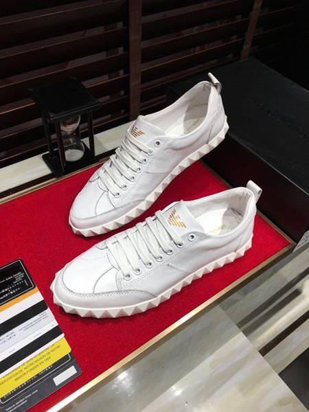 2019p homens de corrida de luxo sapatos de couro de alta qualidade baixo corte sapatos casuais, moda moda selvagem dos homens sapatos de esportes, tamanho: 38-44
