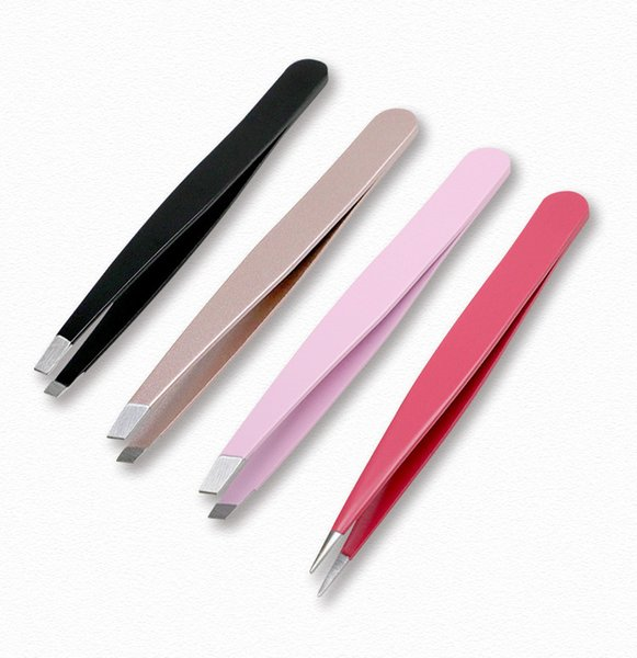 top popular 1.2 3pcs set with PU bag thick stainless steel eyebrow clip with sharp and slanted eyebrow tweezers mouth hair pulling DHL 2021