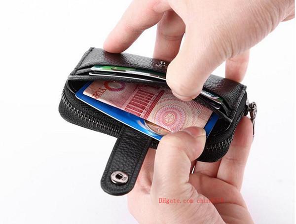 Porta carte di credito porta carte di credito in vera pelle Kweco Vader Portafogli da donna in pelle mini borsa con portamonete