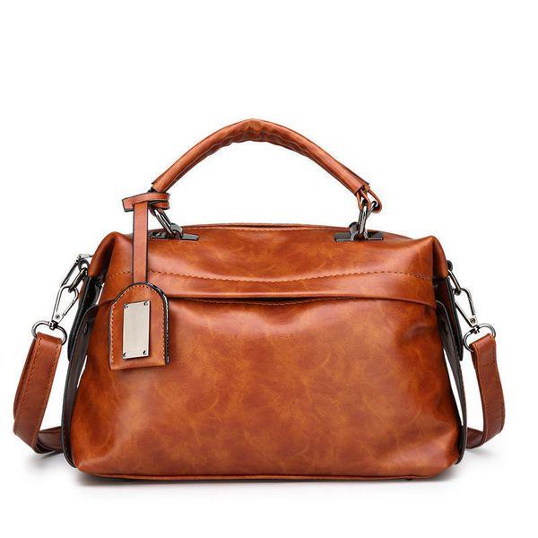 Oil Wax Skin Ladies Handbag 2019 Autumn New Fashion High Quality Casual Wild Temperament Shoulder Messenger Bag