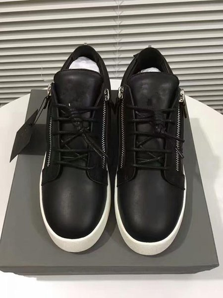 Vendite calde di marca di moda scarpe uomo donna casual basso top scarpe sportive in pelle nera doppia cerniera piatto uomo sneakers ferro fogli scarpe 35-46 03