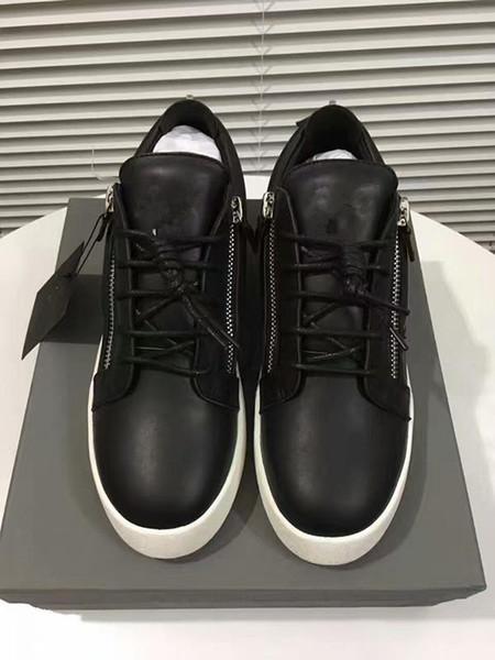 Hot Sales Fashion Brand Shoes Men Women Casual Low Top Black Leather Sports Shoes Double Zipper Flat Men Sneakers Iron Sheets Shoes 35-46 03