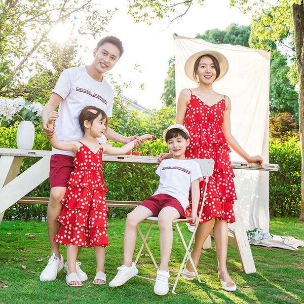 Anne ve Oğlu Eşleşen Giyim Anne Anne Kızı Elbiseler Kek Aile için Bakmak için Gelin Kıyafeti Plaj Kıyafetleri Bohem Tarzı Gömlek
