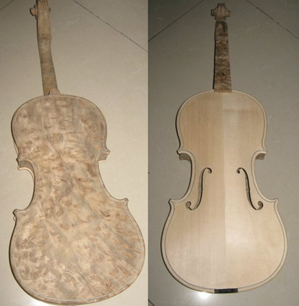 Unfinished Violin White blank handmade bird eye maple 4/4 solid wood violin 3/4 natural pattern violin stringed instrument free shipping