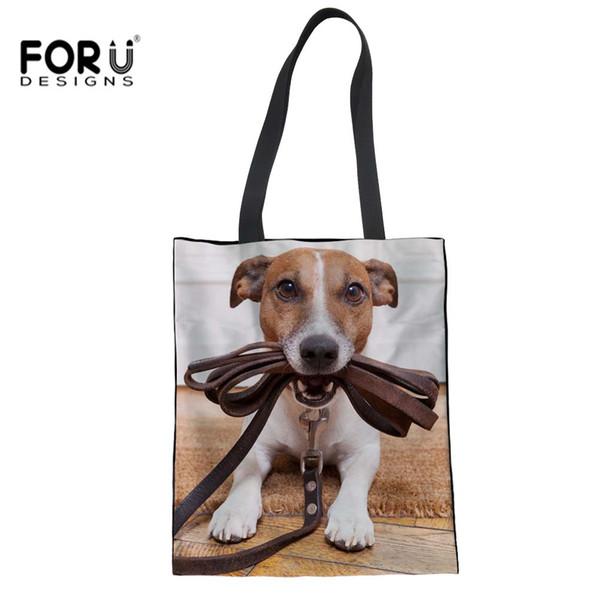 FORUDESIGNS Jack Russell Terrier Impression Fille Shopping Sacs Eco Toile Sac à Main Réutilisable Sac Bandoulière École Fourre-Tout Bolsos Mujer
