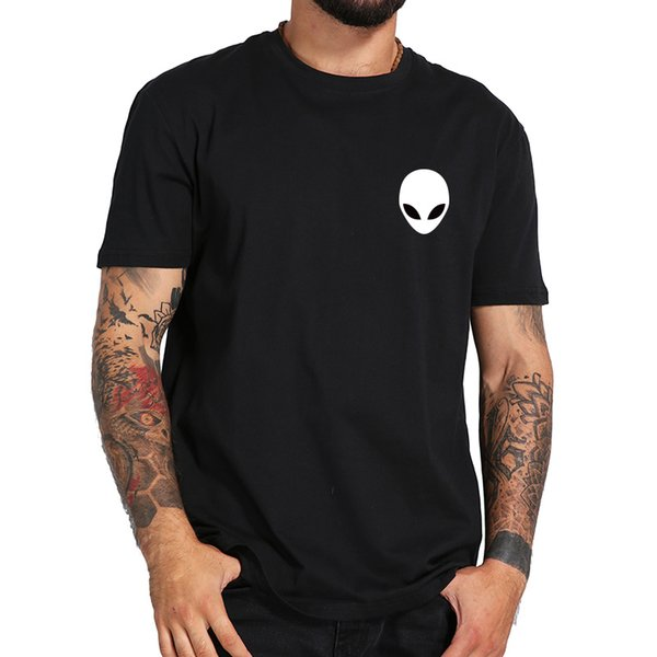 Man's Cotton Alien White T Shirt Short Sleeve Casual O Neck Men Black Tshirts High Quality Summer Soft Top Clothes Male Tops Tee