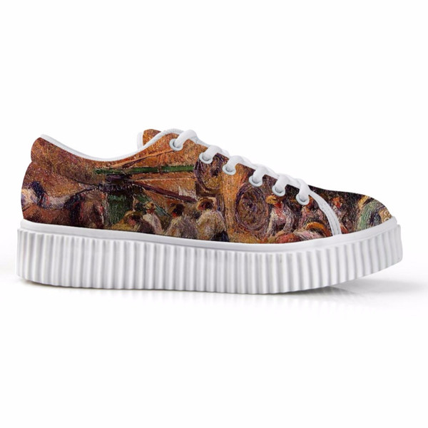 New Arrival 2019 Women Platform Flats For Ladies Lace-up Stylish Low Top height increasing Shoes Painting Print Camille Pissarro