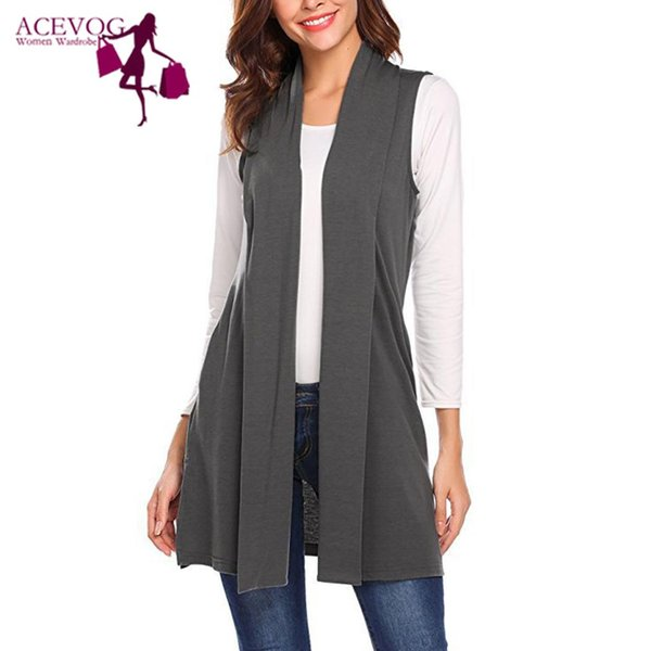 new fashion women casual sleeveless front open pocket solid v-neck waistcoat hips length regular fit,