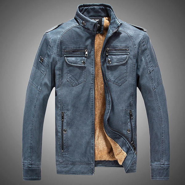 2019 New Winter Men's Faux Leather Jacket Européenne De La Mode Vintage Plus Velvet Jaqueta De Couro Homme Moto Biker Vestes