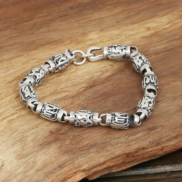 pure silver ornaments men's fashion personality manually Thai silver restoring ancient ways six words cylinder bracelet