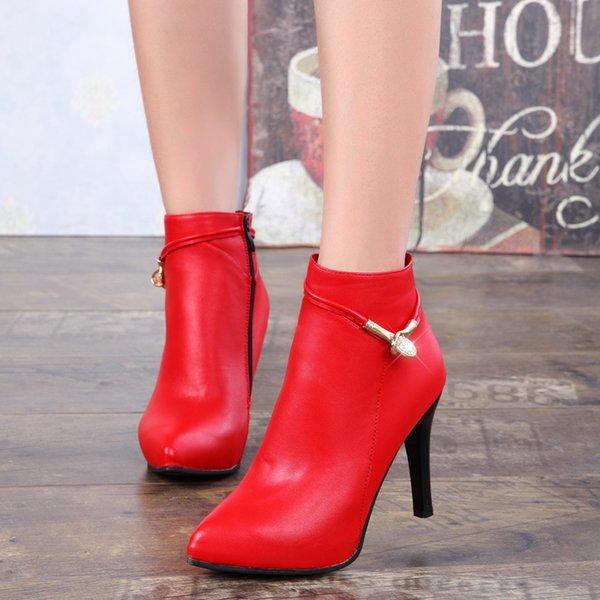 2018 Spring Autumn Stiletto Thin High Heels Pointed Toe Faux Leather Zipper Style Sexy Ankle Womens Boots botas mujer 756