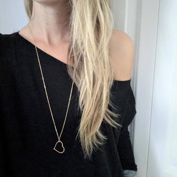 Sexy Hollow Out Love Heart Colgante Collar Moda Charm Joyería Plata Oro Cadena larga Collar Gargantillas Collar Suéter Cadena para mujeres