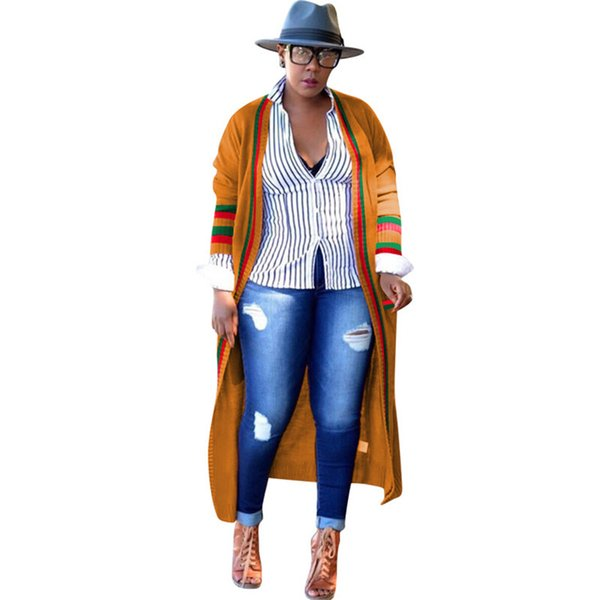 Loose Red Green Stripe Long Womens Prendas de abrigo Ribbon Plus Size Spring Ladies Designer Cardigan Abrigos Ropa femenina