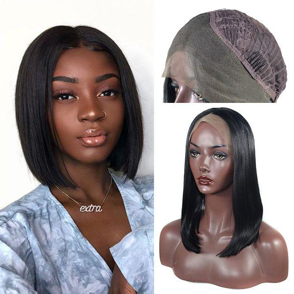 Bob encaje pelucas sintéticas delanteras de alta temperatura resistente al calor fibra sintética pelo peluca larga bob para las mujeres negras 14 16 18 pulgadas Instock
